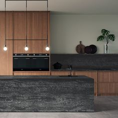 Black Tempal by Caesarstone requires minimal care and maintenance compared to honed, concrete and rough surfaces that require daily care Modern Kitchen Interiors, Dark Interiors, Industrial Interiors, Black Kitchens, Home Kitchens, Blue Health, Kitchen Countertops, Kitchen Design, Kitchen Ideas
