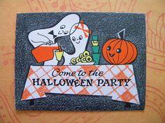 2 Vintage Unused Halloween Party Invitations Mid Century