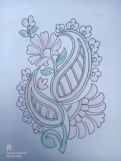 Peacock Embroidery Designs, Floral Embroidery Patterns, Bird Embroidery, Hand Embroidery Stitches, Mehndi Designs Book, Rangoli Designs Flower, Neck Drawing, Textile Pattern Design, Outline Drawings