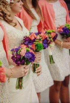 Wedding flowers**Coral  purple wedding **bridesmaids