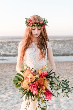 Tropical Wedding Bouquet & Coordinating Bridal Crown More