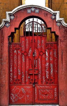 Sad about the graffiti but these doors are so cool! Or maybe the graffiti is what makes them so awesome. ~ Puebla, Mexico