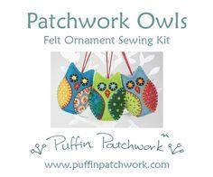 Owls felt sewing kit, Felt owl ornament kit, DIY owl ornaments, Felt Christmas ornament sewing kit, Craft kit, Owl kit, Felt bird sewing kit