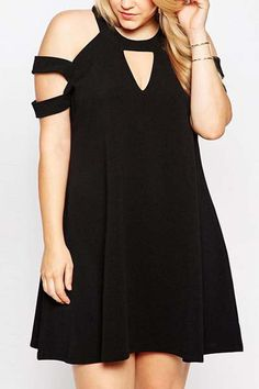 Solid Color Plus Size Fashionable Round Collar Short Sleeve Dress For Women