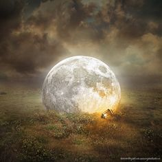 Evenliu mixed an illusion / dream art scene of animals, landscapes and nature photography to create surreal photo manipulation with sense of digital artwork. Moon Shadow, Sombra Lunar, Shoot The Moon, Moon Photos, Sun Moon Stars, Photoshop, Moon Magic, Illustration, Super Moon