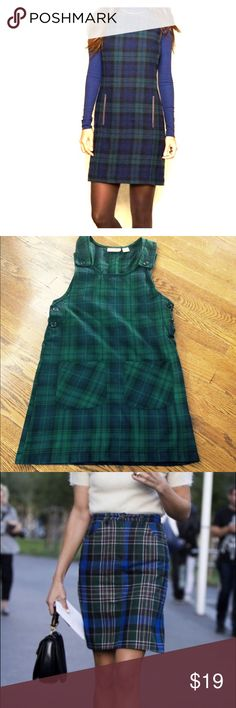 "🎉SALE🎉Green/blue plaid jumper by Penny Lane Perfect for fall plaid jumper. Emerald green and navy blue color. Pockets in front. Buttons on sides and shoulder straps for easy slip on/off. Wear it as shown in pic #1 or #3 or put a white collared shirt under it for a nod to ""Clueless""😜 penny lane Dresses Mini"