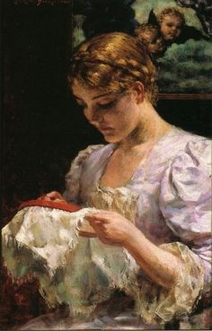 The Embroiderer ~ James Carroll Beckwith (American, 1852-1917) ~ James Carroll Beckwith was an American landscape, portrait and genre painter whose Impressionist style led to his recognition in the late nineteenth century as a prominent figure in American art.