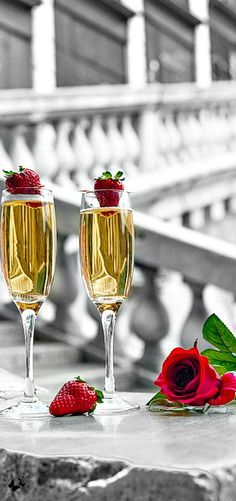 Champagne, Strawberries & Roses