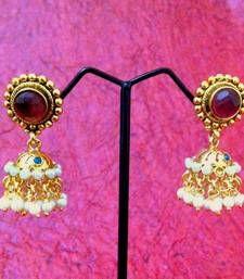 ADIVA - Red Stone Jhumka vi177