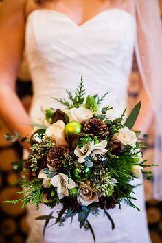 Pine Cone bouquet | winter Revelstoke wedding | Christina Louise Photography