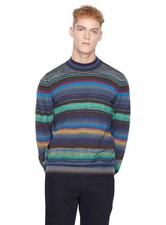 Designed with intarsia stripes and an emblematic palette, this ultra comfortable finely knit sweater is a perfect choice no matter the occasion for men in search of timeless, iconic pieces. Once again, Missoni demonstrates its impressive expertise.    Luxurious silk-cashmere blend, soft and fine knit   Ribbed detailing   Made in Italy    The model is wearing size medium