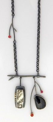 Black  Red Branch Necklace