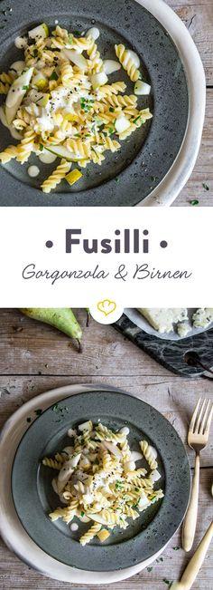 Schnell, einfach und lecker. Diese flotten Fussili mit würzigem Gorgonzola und süßen Birnen machen deinen Feierabend zu einem echten Highlight des Tages.