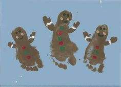 gingerbread man footprint -This turned out so cute! we used some red and green glitter on the buttons. The parents loved them! Daycare Crafts, Baby Crafts, Toddler Crafts, Holiday Crafts, Holiday Fun, Preschool Christmas, Christmas Activities, Kids Christmas, Gingerbread Crafts