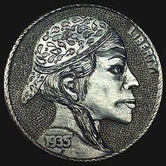 DIMAS SÁNCHEZ MORADIELLOS HOBO NICKEL - INDIA CASHMERE - 1935 BUFFALO PROFILE Hobo Nickel, India, Art Forms, Sculpture Art, Carving, Buffalo, Cashmere, Profile, Coins