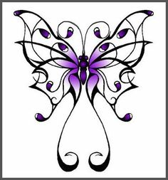 Simple Feminine Tribal Butterfly Tattoos