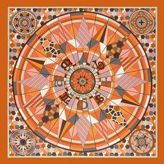 Scarf 70 in vintage silk ROSE DE COMPAS #hermes #silk