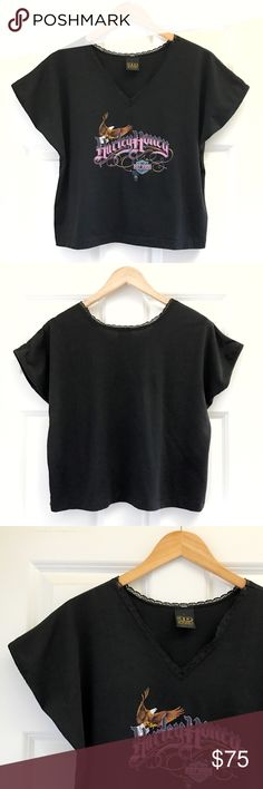 """'87 Harley Honey Crop 1987 Harley Honey Crop  • true vintage • 42"""" bust, 20"""" length  • color: classic black  • sweet, feminine lace detail on v-neck  • tags: unif, lf, urban outfitters, biker babe, chick, motorcycle, backbite, southern, rebel, top, shirt, tee, easyrider, hells angels, tattoo, desert, HD, tribal, open road, pnw, pacific northwest, indian, native american, usa, feathers, dream catcher, harley davidson, babe, soaring eagle, america, american, USA Vintage Tops Crop Tops"""