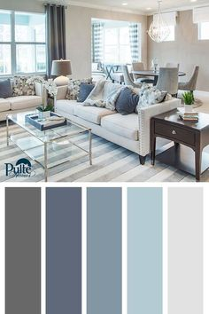 Best Living Room Color Schemes Idea [To Date] Summer colors and decor inspired by coastal living. Create a beachy yet sophisticated living space by mixing dusty blues, whites and grays into your color palette. Living Room Color Schemes, Living Room Colors, Living Room Paint, Home Living Room, Living Room Designs, Grey Living Room Ideas Colour Palettes, Navy Blue And Grey Living Room, Living Room Decor Blue, Blue Home Decor