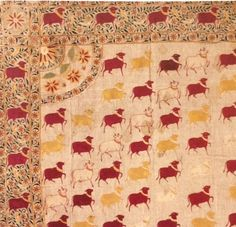 Part of a hanging (pichhwai) for a Krishna shrine, late century, cotton embroidered with silk. As featured in the book 'The Fabric of India' by Rosemary Crill - published to accompany the exhibition at the V&A. Indian Textiles, The V&a, Furniture Making, Krishna, 19th Century, Exotic, Colours, Contemporary, Silk