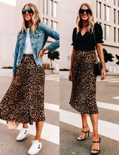 Skirt And Sneakers Outfit, Leopard Skirt Outfit, Leopard Outfits, Outfit Jeans, Skirt Outfits, Midi Skirt Outfit Casual, Outfit With Skirt, Leopard Sneakers Outfit, Leopard Jacket