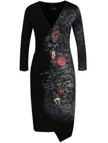 Černé překládané šaty s potiskem Desigual Next to me - 2200