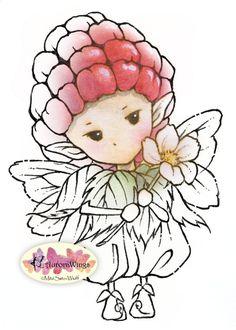 Digital Stamp  Whimsical Raspberry Sprite  Instant by AuroraWings