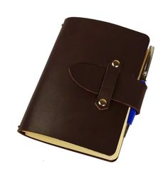 """FLEXI(""""M"""") - darkbrown genuine leather notebook with leather buckle Leather Buckle, Leather Cover, Cow Leather, Leather Notebook, Leather Journal, Personal Organizer, Notebook Covers, Cool Suits, Wallet"""