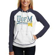 Michigan Wolverines Ladies Slub Raglan Pullover Hoodie - White/Navy Blue