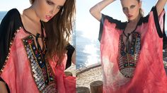 Handmade linen caftan with silk sleeves and ehtnic pattern www.maurizio.gr