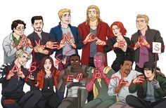 "Bruce Banner, Tony Stark, Steve Rogers, Thor Odinson, Natasha Romanoff, Clint Barton, Pietro Maximoff, Wanda Maximoff, James ""Rhodie"" Rhodes, The Vision, Sam Wilson and James ""Bucky"" Barnes"