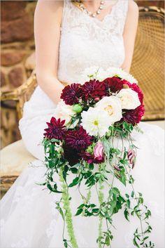 Modern and whimsy cascading bouquet. Floral Design: EightTreeStreet Floral Design#wchappyhour ---> http://www.weddingchicks.com/2014/06/07/wedding-chicks-happy-hour-12/