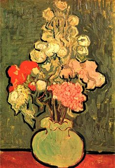 Vincent Van Gogh. Still Life: Vase with Rose Mallows (1890).