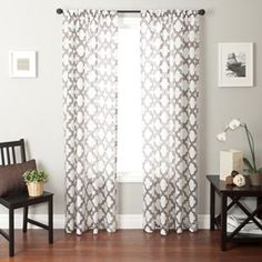 To keep the room bright I want white curtains with a neutral geometric pattern for added style. I've seen curtains like these used in a lot of Property Brothers designs. In Chocolate.