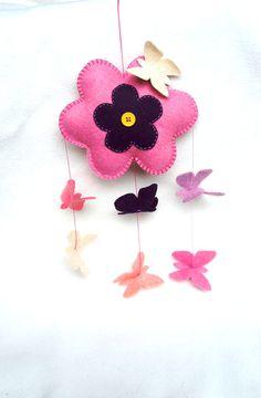 Baby Mobile felt butterfly flower pink Wall by PrettyFeltThings