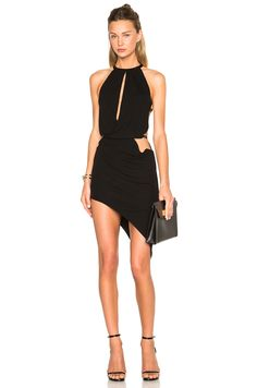 Image 1 of Anthony Vaccarello Sleeveless Front Top Opening Dress in Black
