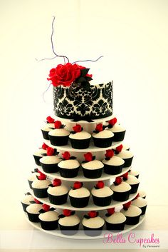 Dark Romance Black and Ivory damask cake. Handmade fondant roses and willow. Cupcakes have been embossed with a swirl rose pattern and handmade fondant roses.By Bella Cupcakes (Vanessa Iti) Vanessa Iti This photo was taken on June 2012 Cupcake Tower Wedding, Wedding Cakes With Cupcakes, Birthday Cupcakes, Cupcake Cakes, Cupcake Towers, Black Cupcakes, Cupcake Stands, 50th Birthday, Cupcake Display