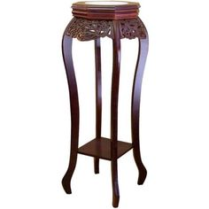Ore International Cherry Flower Stand with Ceramic Top - Furniture Superior Homes, Cherry Flower, Cherry Red, Forest Plants, Wood Plant Stand, Plant Stands, Cherry Finish, Flower Stands, Cool Plants