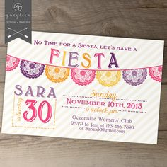 Fiesta Birthday Invitation / invites / Mexican Party Invite / fun colorful banner / No time for a siesta! / 20th / 30th / 40th / 50th on Etsy, $14.99
