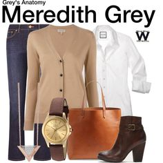 Grey's Anatomy by wearwhatyouwatch on Polyvore featuring Burberry, Tory Burch, Frye, Madewell, Invicta, GUESS, television and wearwhatyouwatch