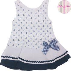 Billedresultat for vestido marinero niña Little Dresses, Little Girl Dresses, Cute Dresses, Girls Dresses, Pretty Little Dress, Girl Dress Patterns, Baby Kind, Sewing For Kids, Kids Wear