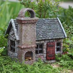 Stoney Brook Fairy Garden Cottage with Hinged Door (doors open) Dimensions:6.5″ Tall   6.25″ Wide   4.75″ Deep NOT A TOY – Miniatures are small items that pose
