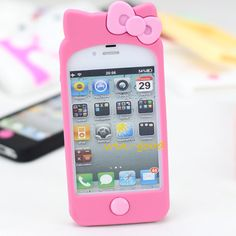 Bow Lovely Case Cover Hellokitty Cute Soft Skin Lady For Iphone 4 4G 4S R-3