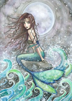 Mermaid Fairy Fine Art Print 9 x 12 'The Forever Hungry Sea' Fantasy Watercolor by Molly Harrison