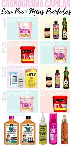 Cronograma capilar com produtos liberados para low poo: shampoo, condicionador, máscaras de hidratação, nutrição e reconstrução, óleos vegetais para umectação noturna.