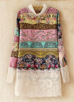 To find out about the Multicolor Lapel Floral Print Contrast Lace Dress at SHEIN, part of our latest Dresses ready to shop online today! Cheap Dresses, Casual Dresses, Fashion Dresses, Motif Floral, Floral Prints, Ropa Shabby Chic, Gilet Long, Dress Patterns, Blouse Designs