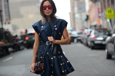 Aimee Song in the streets of New York. #NYFW