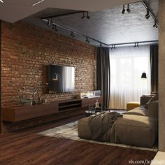 Tag Your Friends Who'd Love This Design! Swipe left to see more from this cool loft apartment design by Industrial Interior Design, Industrial Interiors, Industrial House, Home Interior Design, Interior Styling, Industrial Bedroom, Industrial Chic, Kitchen Industrial, Industrial Shelving
