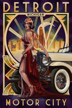 Classic Art Deco vintage Travel car poster Detroit, Michigan - Deco Woman and Car Art Deco Illustration, Pin Up, Photo Vintage, Retro Vintage, Vintage Hawaii, French Vintage, Arte Art Deco, Etiquette Vintage, Inspiration Art