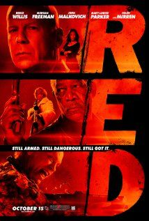Red -- Bruce Willis, Mary-Louise Parker, Morgan Freeman, John Malkovich, and Helen Mirren plus hilarity and awesome action (bullet blows up a rocket). Anyone feel like pancakes? Mary Louise Parker, Bruce Willis, John Malkovich, Film D'action, Film Serie, Film Red, Top Movies, Great Movies, Xmas Movies